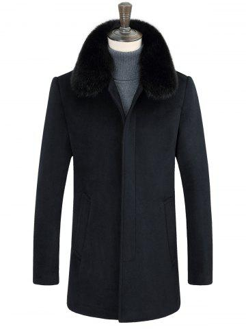 Buy Detachable Faux Fur Turn-Down Collar Covered Buttons Coat
