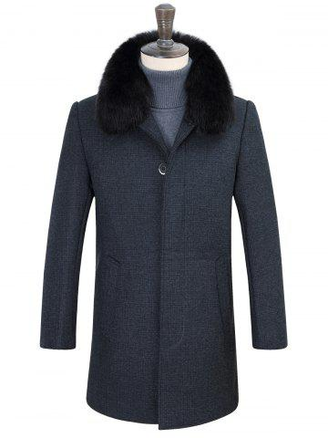 Latest Detachable Faux Fur Turn-Down Collar Covered Buttons Vintage Coat
