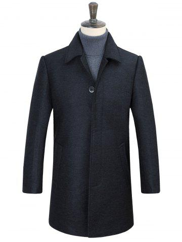 Turn-Down Collar Covered Button Woolen Coat - Deep Gray - Xl