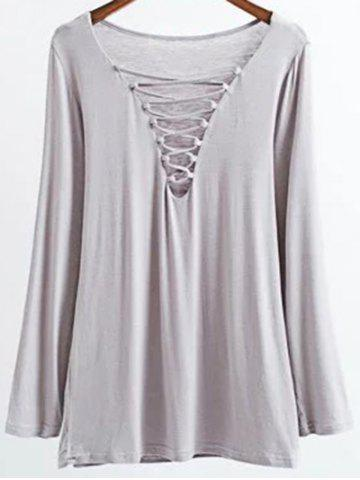 Shop Long Sleeves Lace-Up T-Shirt - S GRAY Mobile