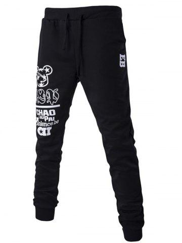 Cheap Drawstring Letter Print Jogger Pants