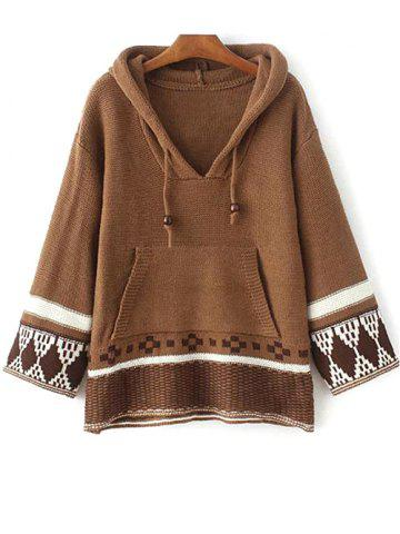 Unique Hooded Drawstring Front Pocket Sweater