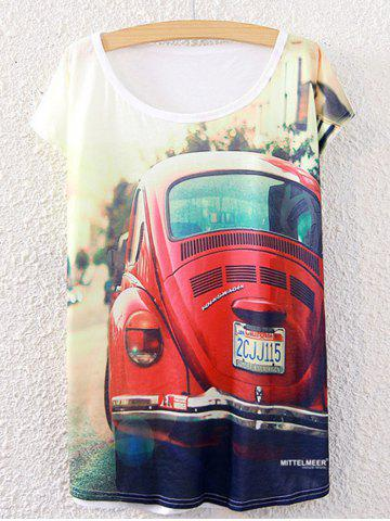 Store Short Sleeve Car Printed Round Neck T-Shirt WHITE ONE SIZE(FIT SIZE XS TO M)