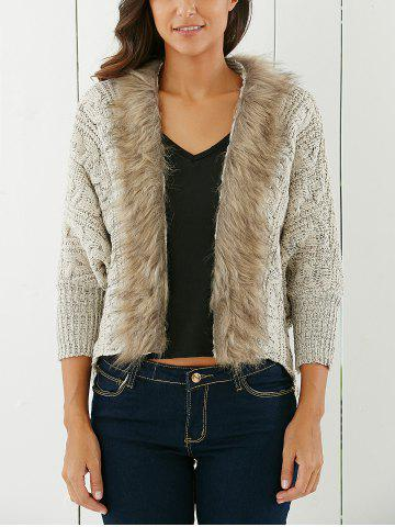 Fashionable Solid Color With Faux Fur Long Sleeve Women's Cardigan - Light Khaki - One Size