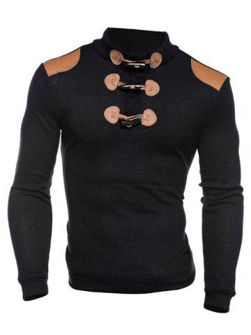 Chic Ribbed Shoulder Patch Claw Button Long Sleeve Sweater - 2XL BLACK Mobile