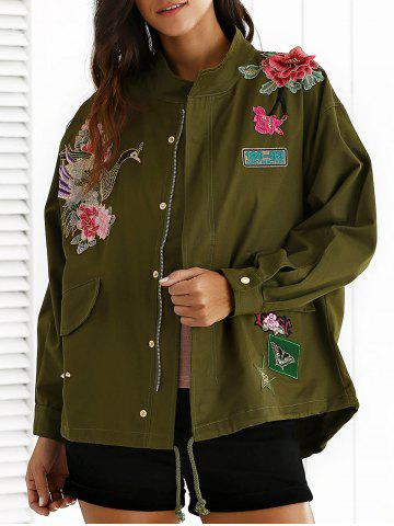 Shops Stand Neck Rivet Embroidered Patchwork Coat ARMY GREEN S