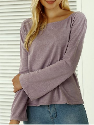 Shops Boat Neck Flare Sleeves T-Shirt