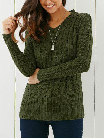 Trendy Longline V Neck Sweater GREEN ONE SIZE