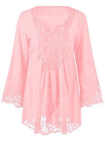 Outfits Lace Patchwork Peasant Top SHALLOW PINK 5XL