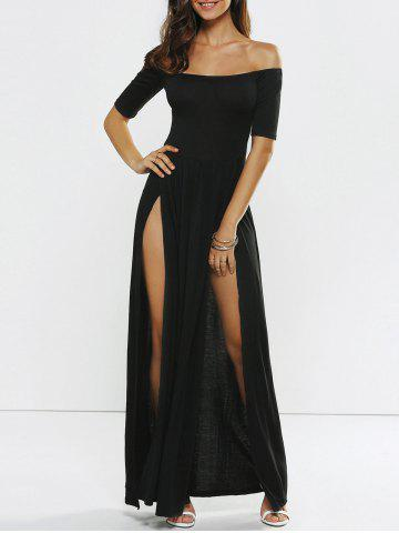 Chic Off Shoulder Evening High Slit Party Maxi Dress BLACK S