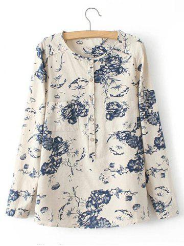 Trendy Pocket Floral Print Buttoned Shirt