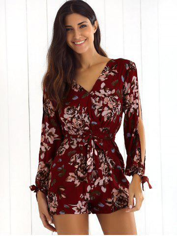 Latest Front Tied Flower Print Long Sleeve Pants Romper - L DEEP RED Mobile