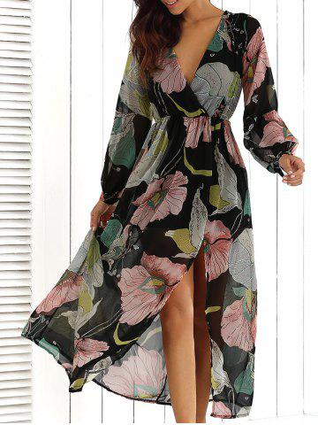Sale Big Flower Print V Neck Long Sleeve Maxi Dress FLORAL L