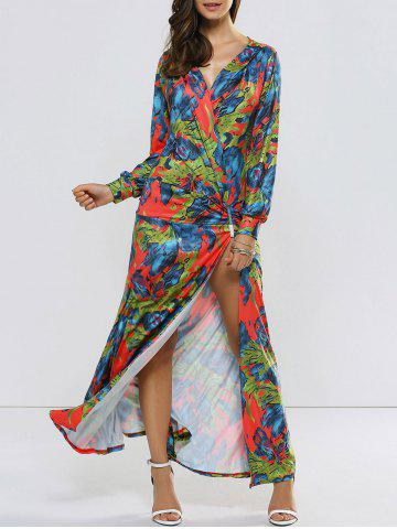 High Slit Long Sleeve Maxi Surplice Dress - Floral - S