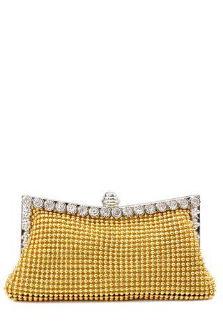 Latest Metal Trimmed Rhinestone Evening Bag - GOLDEN  Mobile