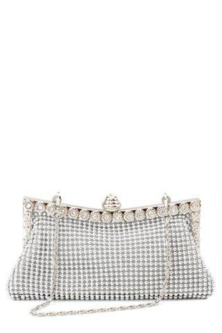 Outfits Metal Trimmed Rhinestone Evening Bag SILVER