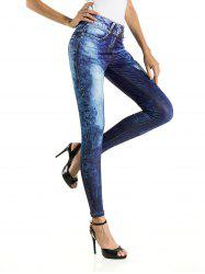 3D Printed Bleach Wash Skinny Pants - DENIM BLUE