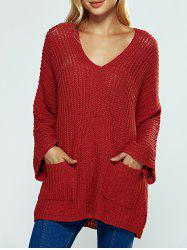 V Neck Textured Loose Sweater -