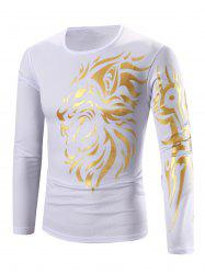 Tattoo Style Golden Tiger Print Round Neck Long Sleeve T-Shirt For Men - WHITE