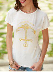 Anchor Letter Print Short Sleeve T-Shirt