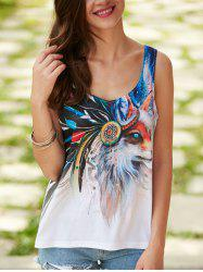Fox Printed U Neck Tank Top - WHITE XL