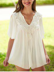Crochet Cut Out Lace Splicing Blouse
