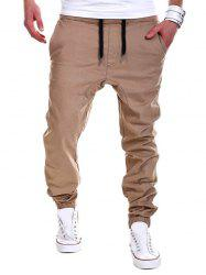 Drop Crotch Drawstring Double Welt Pockets Jogger Pants - KHAKI