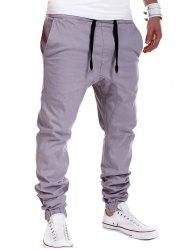 Drop Crotch Drawstring Double Welt Pockets Jogger Pants - GRAY