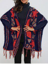 Batwing Sleeves Fringed Geometric Cardigan -