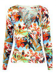 V-Neck Birdie and Floral Knitted Cardigan -