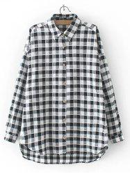 High Low Checkered Pattern Shirt -