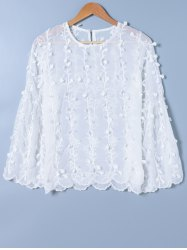 See-Through Appliques Blouse -