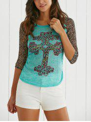 Leopard Print Scoop Neck 3/4 Sleeve T-Shirt