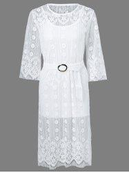 Belted Embroidery Lace Dress -