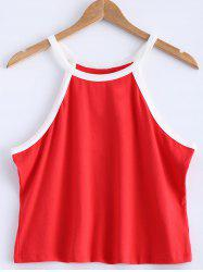 Contrast-Trim Spaghetti Strap Crop Tank Top - RED 5XL