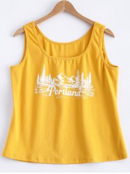 Printed Mountain View Tank Top - YELLOW 5XL