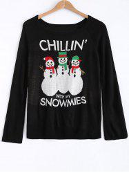 Snowman and Letter Jacquard Sweater -