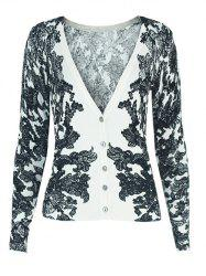 Two-Tone V-Neck Floral Cardigan -