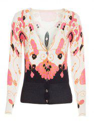 Ribbed Long Sleeves Floral Cardigan -