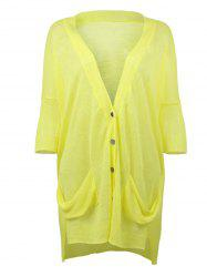 Loose Fitting Ribbed Hem High Low Cardigan -