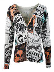 V-Neck Face Print Knitted Cardigan -