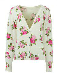 Long Sleeves Buttoned Floral Cardigan -