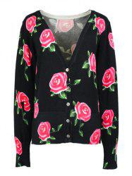 Long Sleeves Buttoned Rose Cardigan -