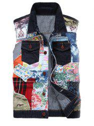Gilet Bloc de Couleur de Col Rabattu Patch Design Denim -