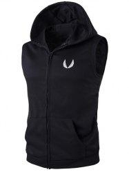 Hooded Embroidery Zip-Up Waistcoat