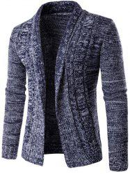 Turn-Down Collar manches longues en maille Blends Cardigan - Cadetblue 2XL