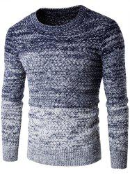Round Neck Knit Blends Ombre Long Sleeve Sweater