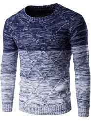 Round Neck Knit Blends Ombre Kink Design Long Sleeve Sweater