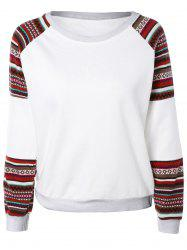Tribal Print Spliced Sweatshirt - WHITE