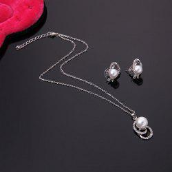 Classical Rhinestone Faux Pearl Decorated Pendant Necklace and A Pair of Earrings For Women -